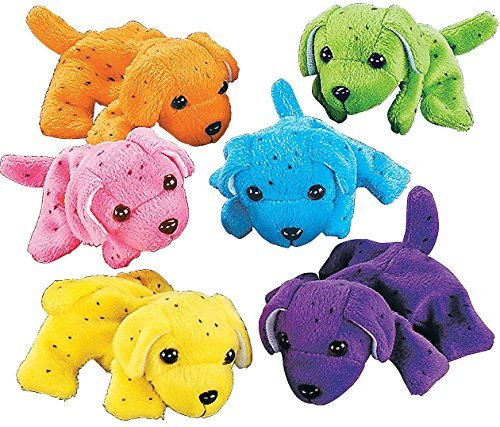 Plush Miniature Animal (Plush Neon Dogs (1 dozen) - Bulk, Assorted Colors)