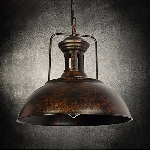 Nautical Barn Pendant Light, Motent Industrial Vintage Metal Dome Mounted Lighting Fixture Antique Bowl Shaped Iron Wrought Adjustable Hanging Lamp for Bar Kitchen Cafe - Rustic Copper / 15.7