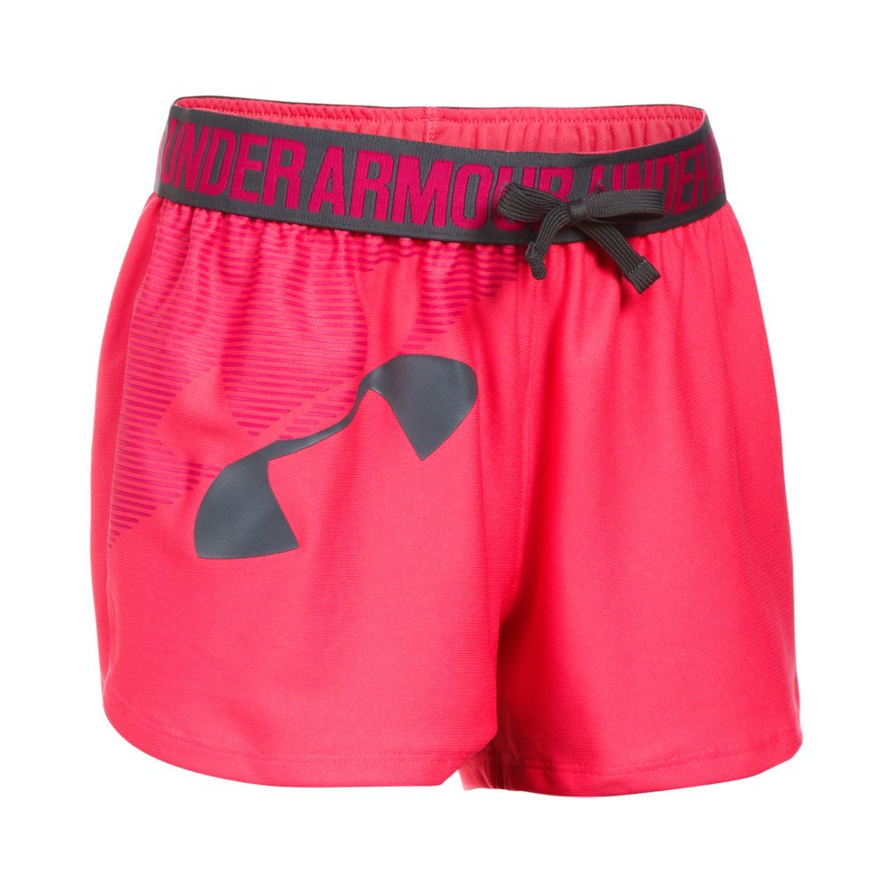 Under Armour Girls' Graphic Play Up Short, Gala (692)/Rhino Gray, Youth X-Large
