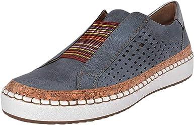 Zapatos Mujer Ligeros Cómodos Mocasines Piel Hueco Zapatos ...