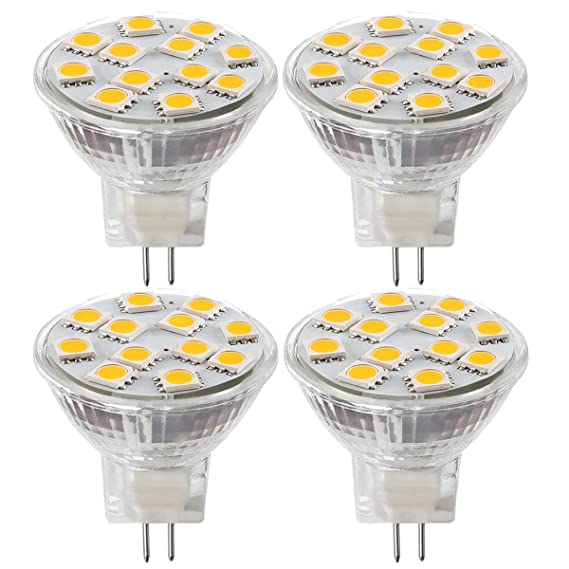 2.4W LED MR11 Light Bulbs, 12v 20w Halogen Replacement, GU4 Bi-Pin Base, Soft White 3000K, (Pack Of 4) - - Amazon.com