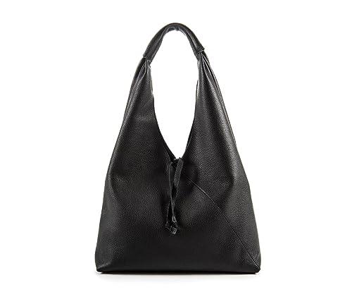 New Francesca Borsa a sacca in pelle color nero
