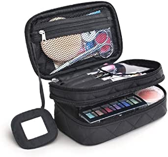 Powbel - Premium Quality Makeup Storage Bag with Double Zippered Layered Compartments.Versatile, Travel-Friendly and Waterproof Cosmetics Organizer Pouch, it comes with a makeup mirror and makeup brush holders. (20*12*8*cm, Black)