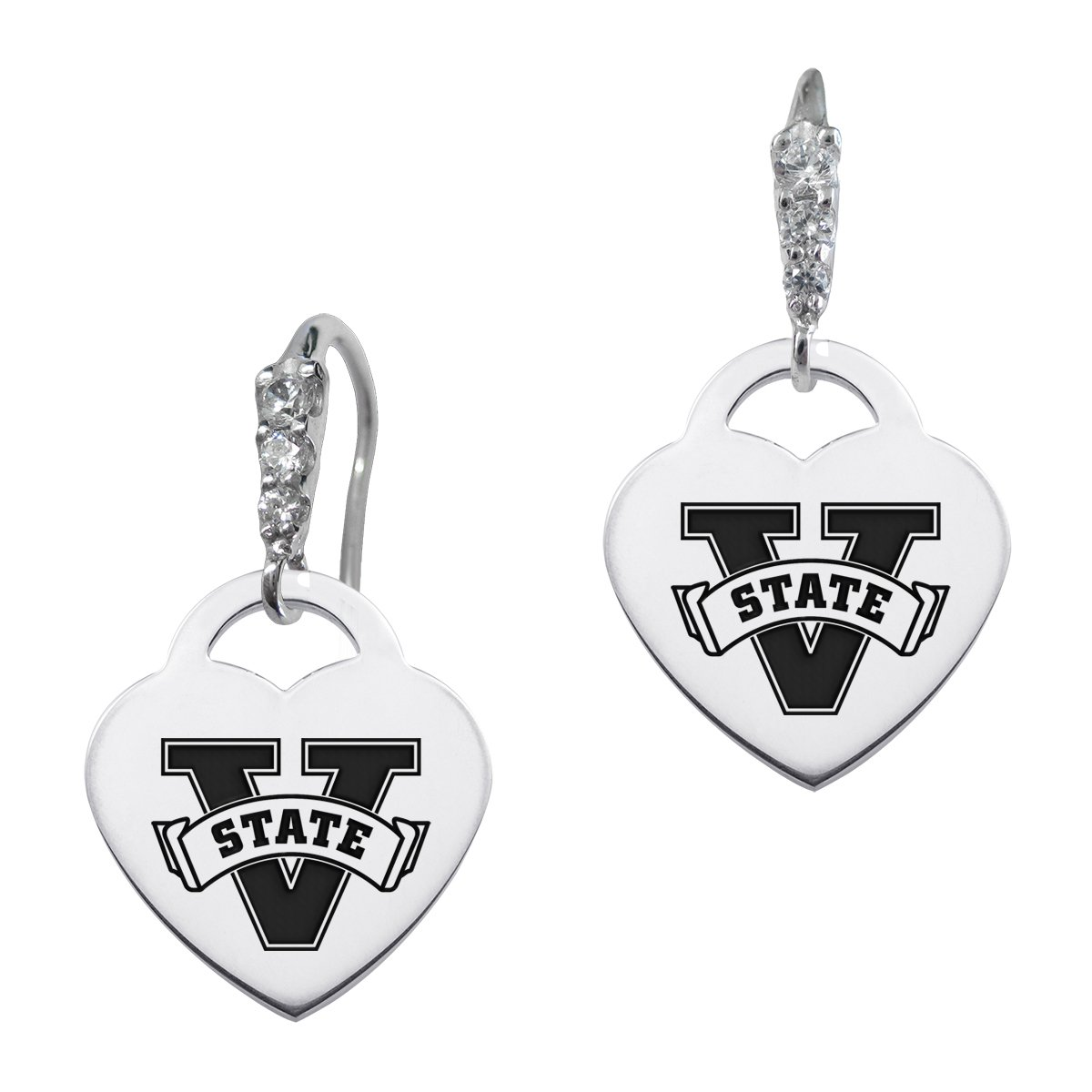Valdosta State Blazers Cz Cluster Heart Earrings