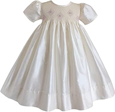 Embroidered Girls Smocked Dresses Princess White Holy Communion Party Pageant