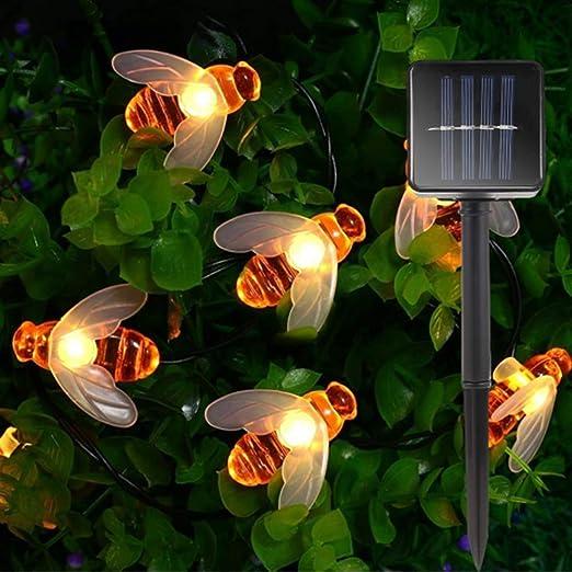 GQNLY 50 Luces LED solares para jardín, Luces de Cadena Honey Bee, Luces de decoración accionadas por energía Solar al Aire Libre a Prueba de Agua para el hogar, Patio, Fiesta, Navidad:
