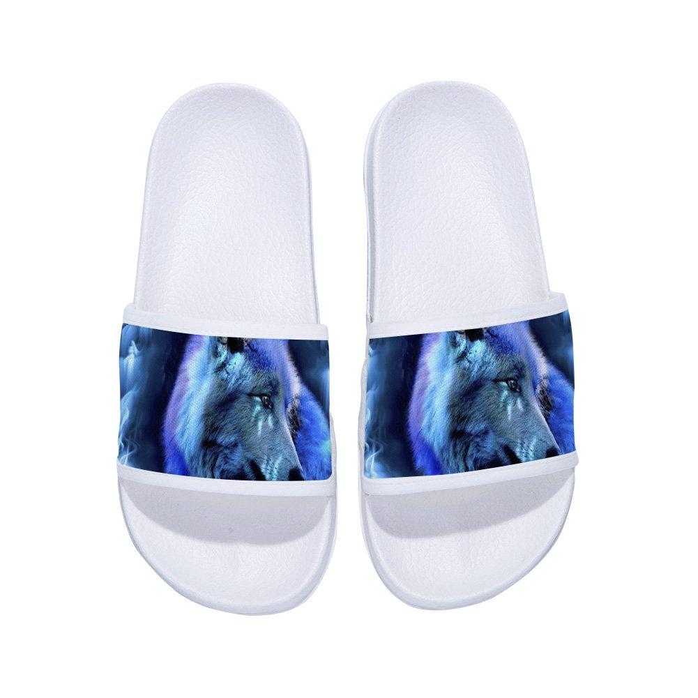 Fashion Women Cool Animal Wolf Print Slippers Summer Flat Slipper Shoe