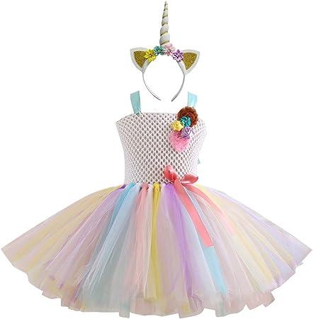 Costume Princesse Fille 110 pour les 3-4 ans Robe Licorne Fille Unicorn Party,Multicolore URAQT Robe Licorne Enfant de Princesse Robe de Princesse avec Licorne