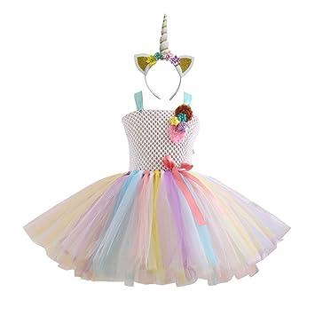 BESTOYARD Vestido de Unicornio Rainbow Tutu para Niña con Diadema Disfraz de Lujo para Disfraz de