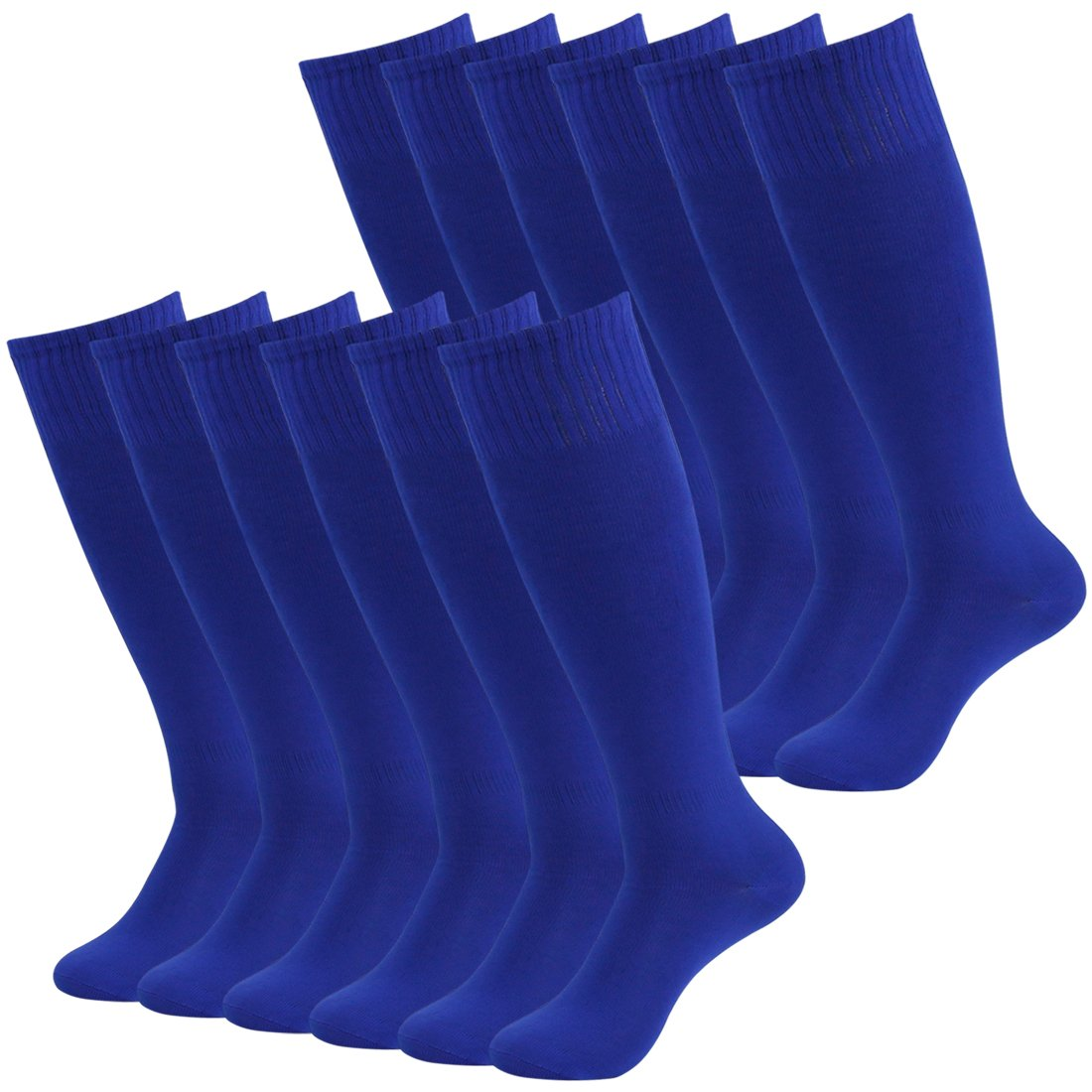Fasoar Unisex Knee High Athletic Stretch Rugby Soccer Sports Hosiery 12 Pack Blue  12 Pack blue  One Size by Fasoar
