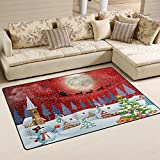 Naanle Winter Landscape Area Rug 3'x5′, Christmas Snowman Tree Santa Clause Reindeer Under the Full Moon Polyester Area Rug Mat for Living Dining Dorm Room Bedroom Home Decorative Review