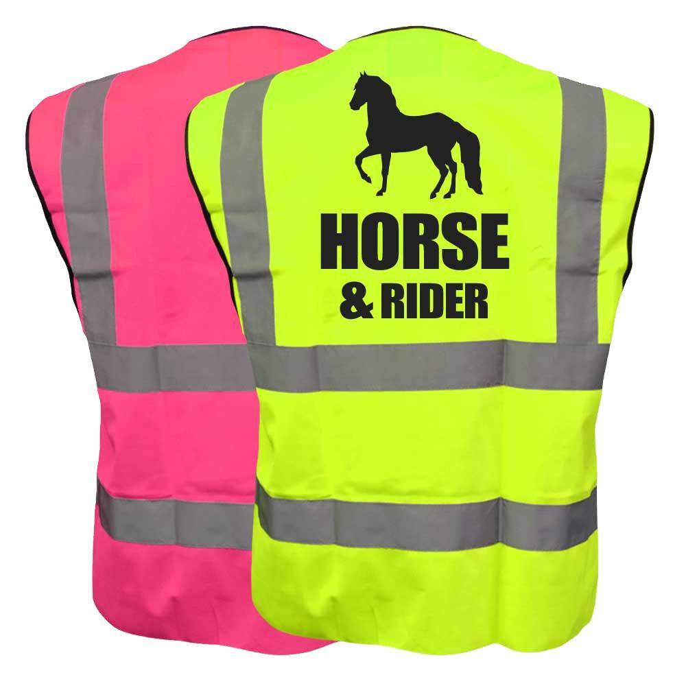 Equestrian HORSE /& RIDER Hi Viz Vis Vest Horse Riding Reflective Waistcoat Jacket Road Safety Visibility