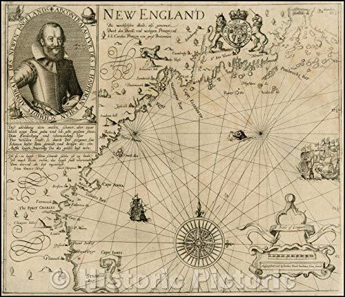 Historic Map   New England. Die Mercklichsten Dheile, also Genennet durch den Durchl: und Mechtigen Prinzen und H.H. Carolus, Prinzen von Gross Britannien, 1617 v1 44in x 38in