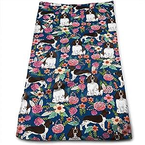 yinchuyindianzi Hand Towels English Springer Spaniel Floral Premium Quick Dry Microfibre Hand Towel 3
