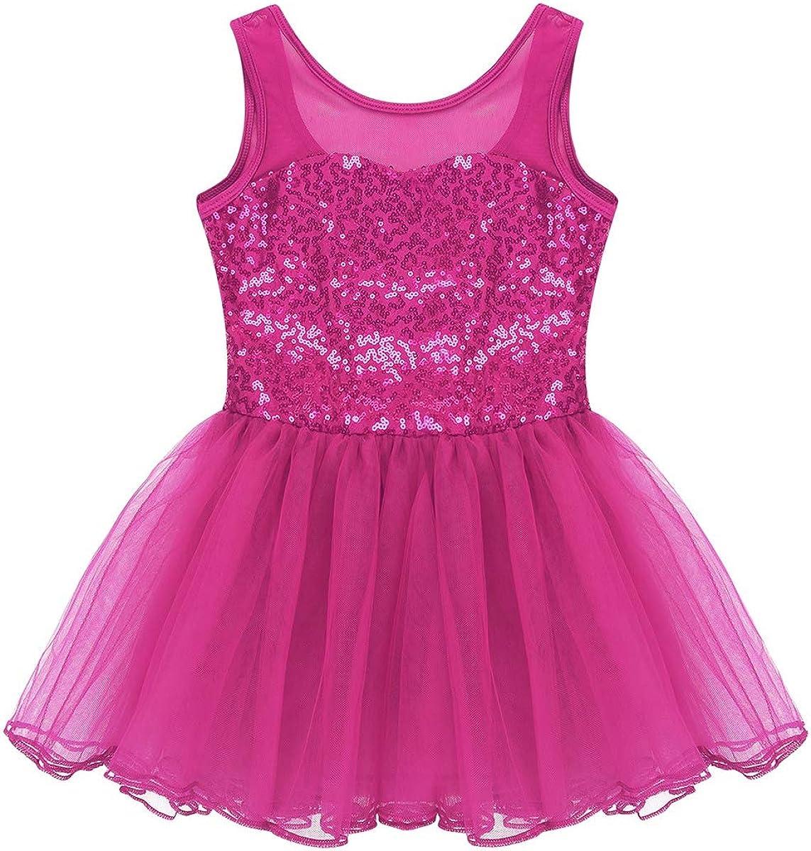 YiZYiF Justaucorps Danse Enfant Fille Robe Danse Ballet Latine Jazz Tutu Robe Patinage Gymnastique Robe /à Paillettes Body Robe Soir/ée Carnaval 3-14 Ans