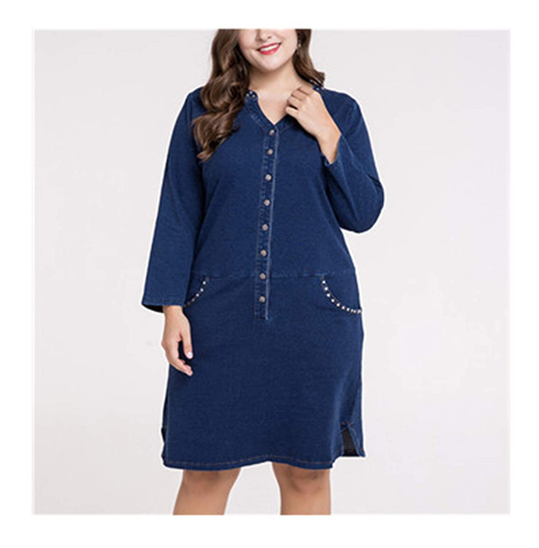 Plus Size Denim Dress for Women Clothes Fashion Diamond ...