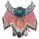 Vintage Look Native Indian Beaded Turquoise Pointed Pink Necklace