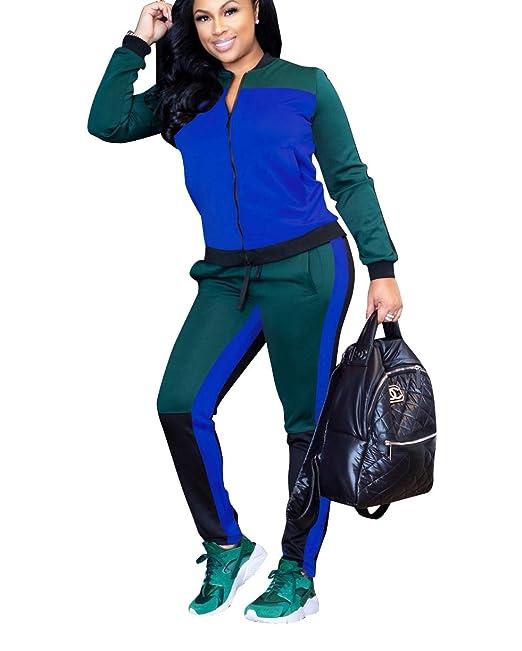 e1229de5cf41 Mycherish Women s Casual Zip Color Block Jacket Suit Crop Tops Bodycon Long  Pants Set 2 Piece