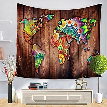 YFXGSTLI Tapestry Retro Mapa del Mundo De Impresión De Pared De Tela Decorativa De Toalla De