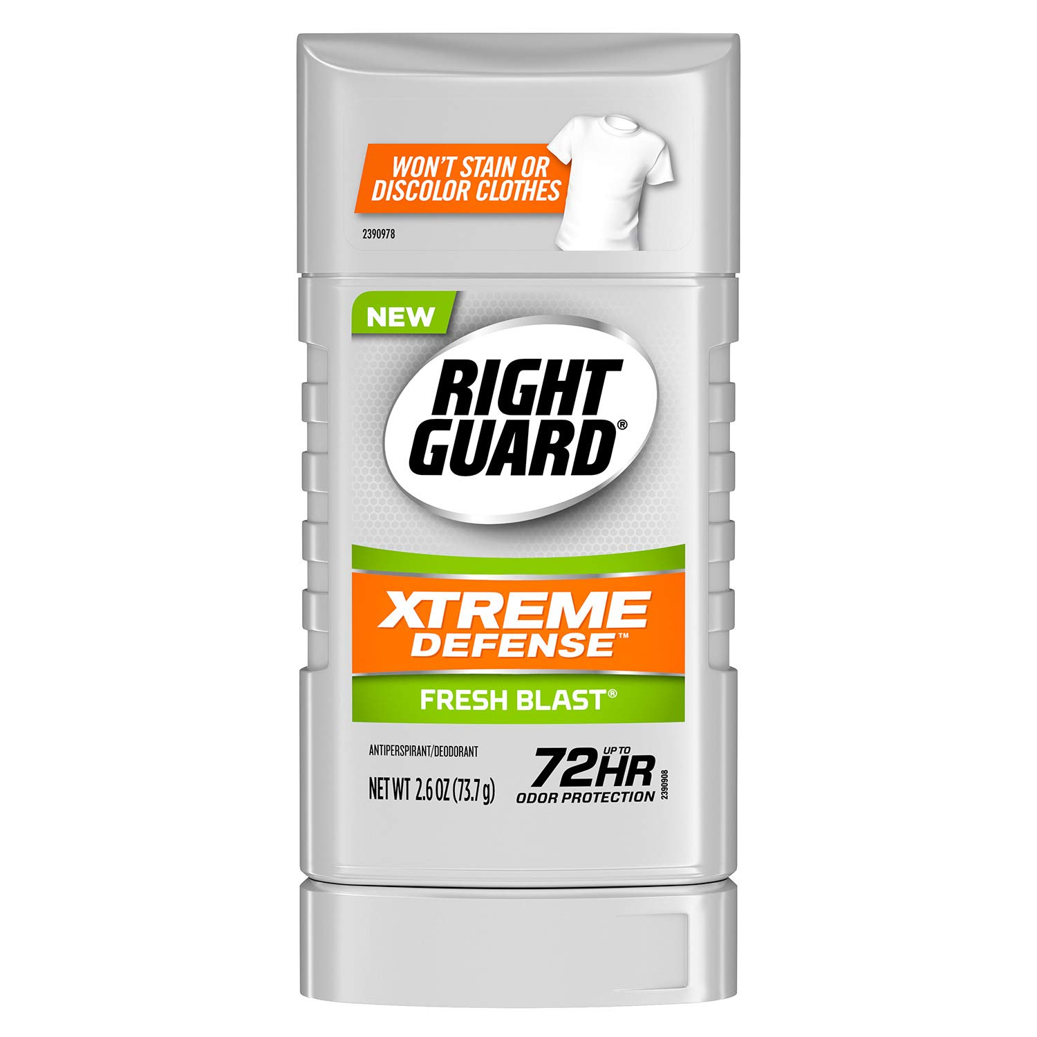 Right Guard Xtreme Defense Antiperspirant Deodorant Invisible Solid Stick, Fresh Blast, 2.6 Ounce (Pack of 6)