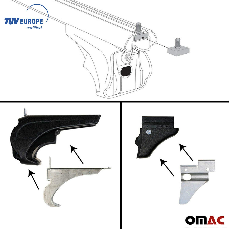 OMAC USA Roof Racks Lockable Cross Bars Carrier Cargo Racks Rail Aluminium Silver Set 2 Pcs for/Ford Flex 2009-2019