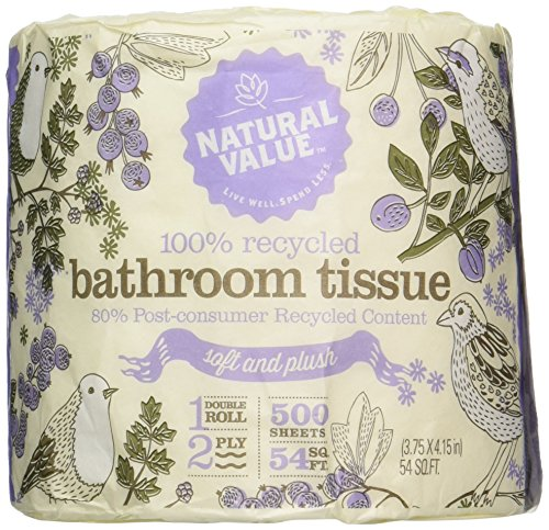 Natural Value 100% Recycled Bathroom Tissue, 500 2-Ply Sheets Per Roll (Pack of - Tree Paper Toilet
