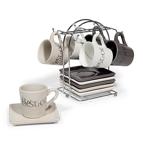 6 Tazzine Da Caffè Con Piattini Supporto In Ceramica Tourville