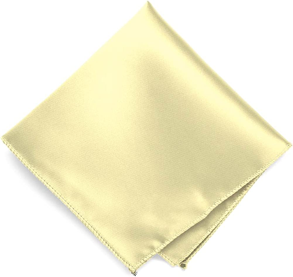TieMart Pale Gold Solid Color Pocket Square