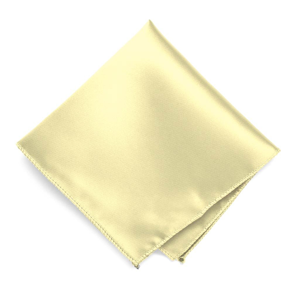 TieMart Light Yellow Solid Color Pocket Square