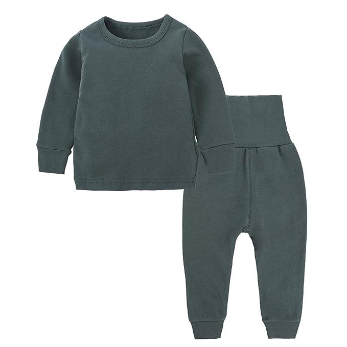 Paisdola Conjunto de Pijama para niños, otoño Invierno, algodón, Manga Larga, Pijama
