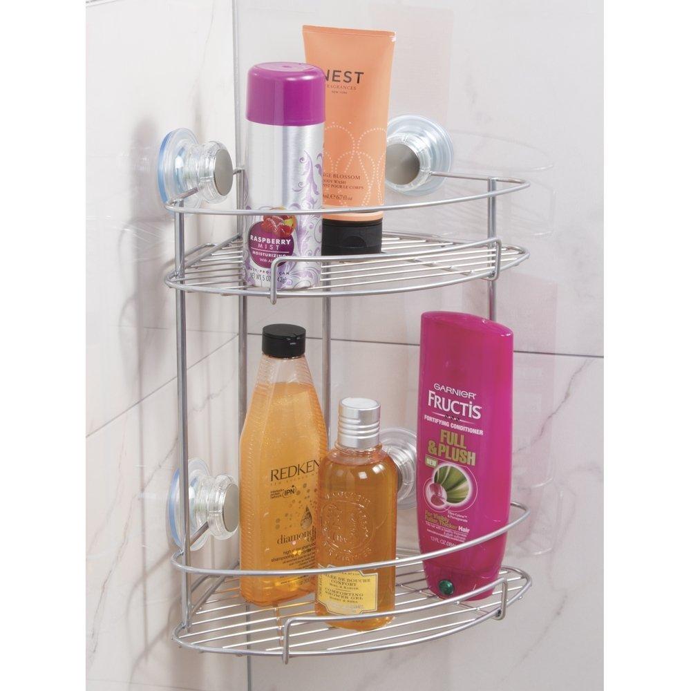 /étag/ère d/'angle sur deux niveaux pour shampoing savons mDesign /étag/ère de douche avec ventouse rasoir etc argent/é - Montage sans perceuse