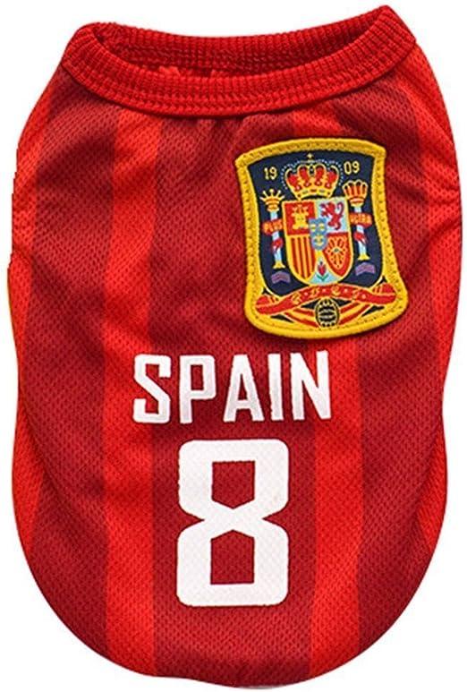 Kingnew Pet Fútbol Ropa Mundo Cup Jersey Ropa Deportiva Transpirable para Exterior Verano (España, XL): Amazon.es: Productos para mascotas