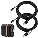 Zacro 2 Pcs 13ft PS4 and Xbox One Controller Charging Cable USB Cord and 2.1A 10W Dual USB Travel Wall Charger for PS4 and Xbox One, Dual Shock 4 Charge