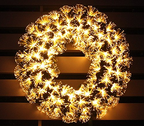 pre-lit white Color LED Fiber Optic Christmas Wreath (24in, warm white) by HOLIDAY STUFF