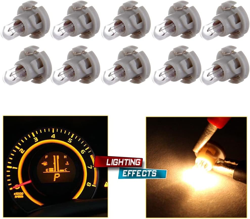 cciyu 4 Pack Warm White T5//T4.7 Neo Wedge Halogen A//C Climate Control Light Bulbs 12V