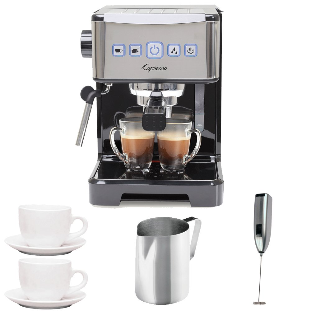 Capresso Ultima PRO Programmable Espresso & Cappuccino Machine + (2) Ceramic 3 oz. Espresso/Cappuccino Cup & Saucers + Stainless Steel Frothing Pitcher + Knox Handheld Milk Frother