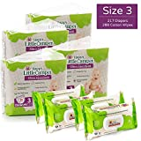 Happy Little Camper Ultra Absorbent Hypoallergenic Natural Diapers, Size 3 (16-28 lbs), 217 Count, Non-GMO Cotton Wipes, 288 Count, Monthly Supply Combo Bulk Pack