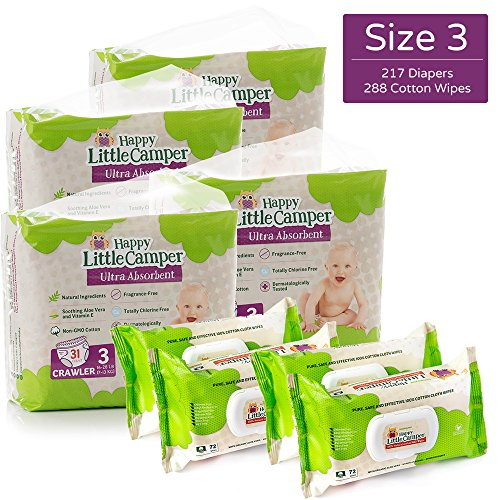 Happy Little Camper Natural Diapers, Cotton Wipes, Monthly Pack, Size 3, 217 Count