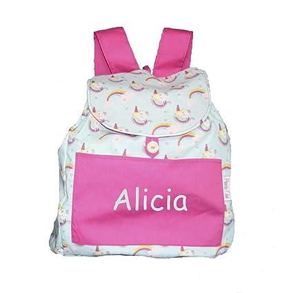 Bolsa mochila unicornios, en tela algodón, personalizada con nombre. /30x28x14cm. aproximadamente
