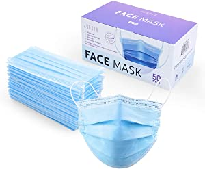 ZUBREX Disposable 3 Ply Safety Face Mask for Protection - with Nanofiber Filter Lining - and Elastic Earloops - 50 Pcs (Blue)