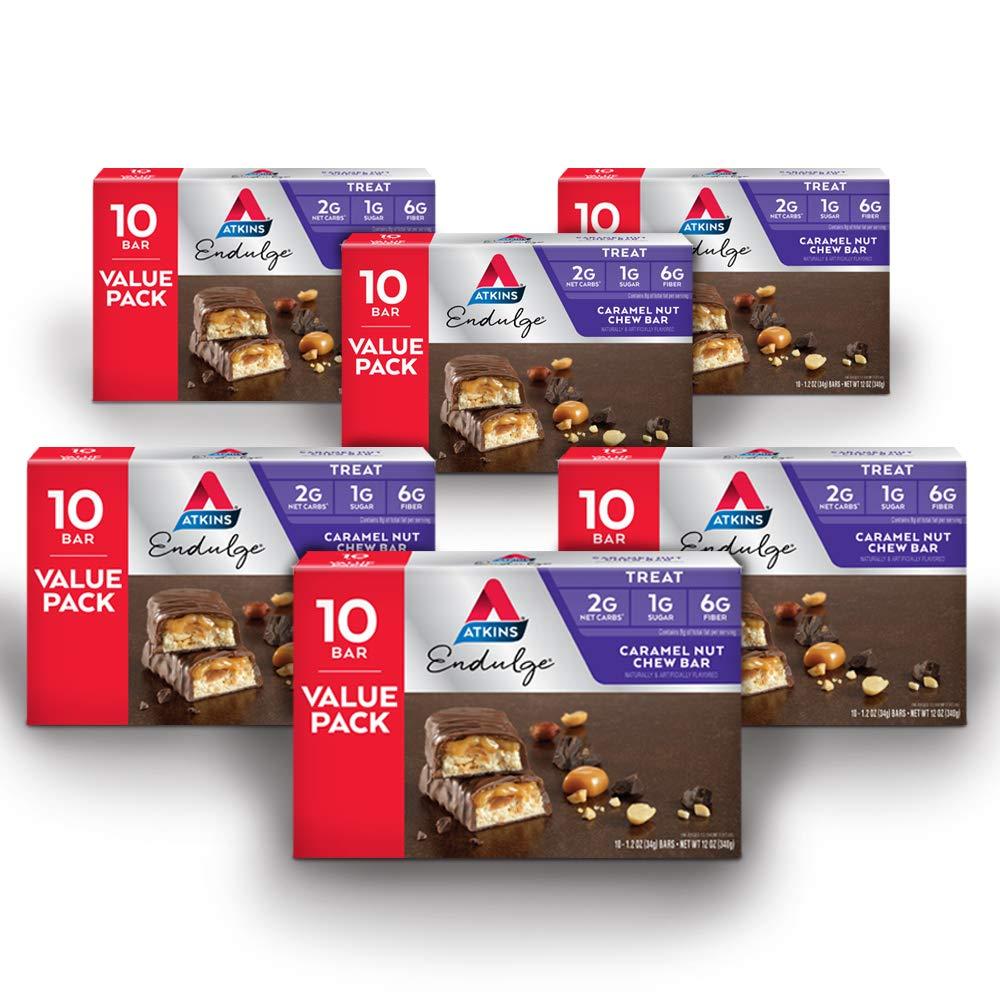 Atkins Endulge Treat, Caramel Nut Chew Bar, 60 Count (Value Pack)