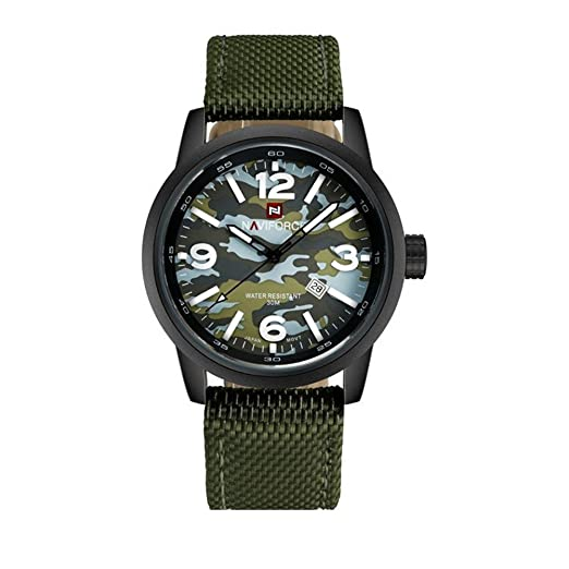 Camuflaje militar de los hombres calientes relojes baratos de camuflaje único dial verde correa de nylon midsized skeleton manos: Amazon.es: Relojes