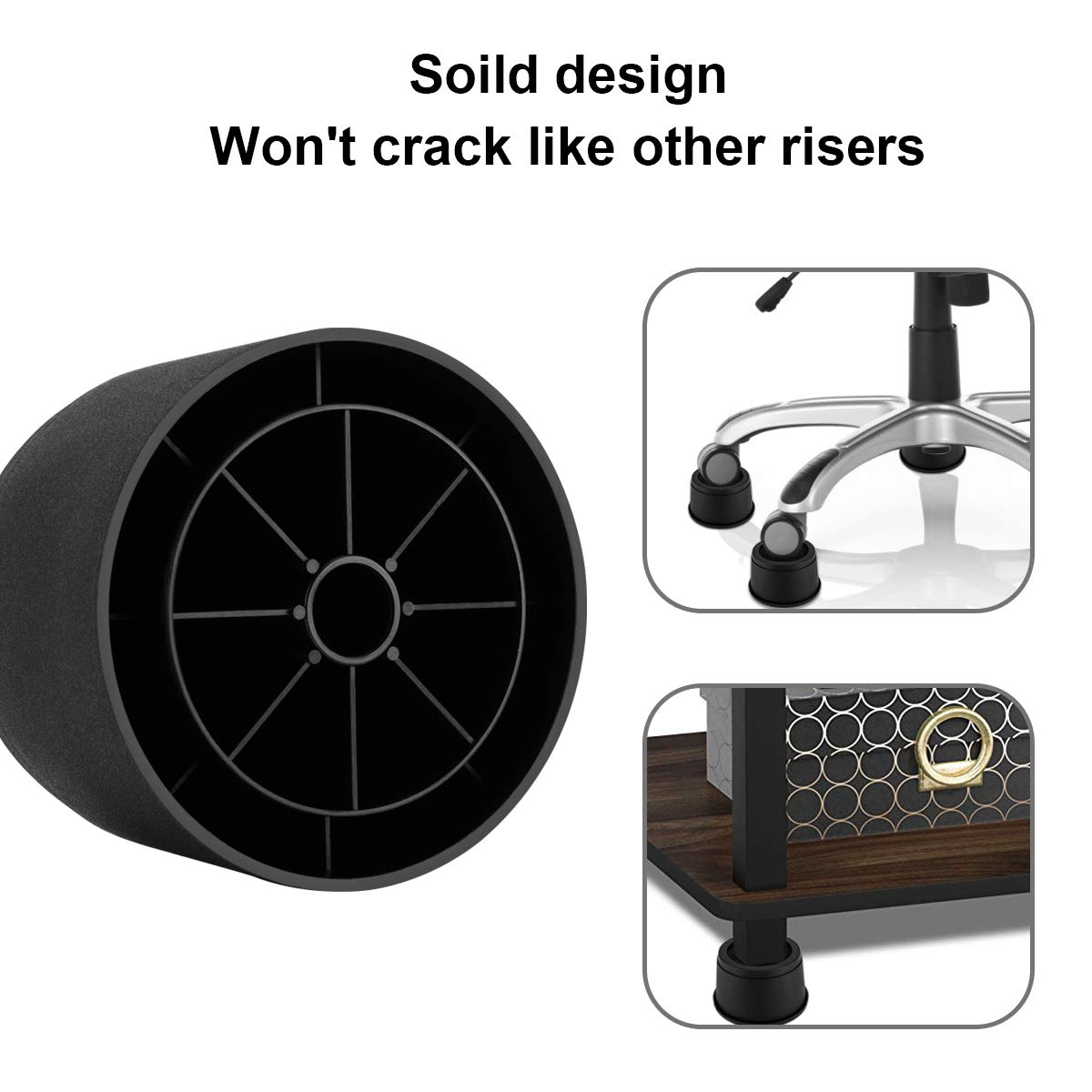 Table and Couch 4 Pack, Round BTSD-home 3 Inch Heavy Duty Bed Riser Adjustable Bed Lift Fits to All Wheels of Furniture Sofa