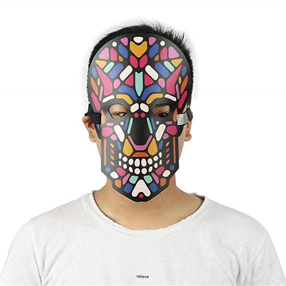 Unpara Halloween LED Mask Party Version Sound Reactive Dance Rave Light Up Adjustable Mask (E) by Unpara_mask (Image #2)