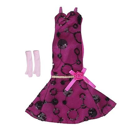 Vestido Largo de Sirena para Casa de Muñecas Barbie Rosa