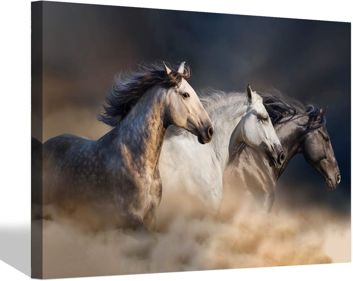 Cuadro de pared con caballos que corren, cuadro de caballo salvaje, lienzo para pared (45 x 30 x 1 panel)