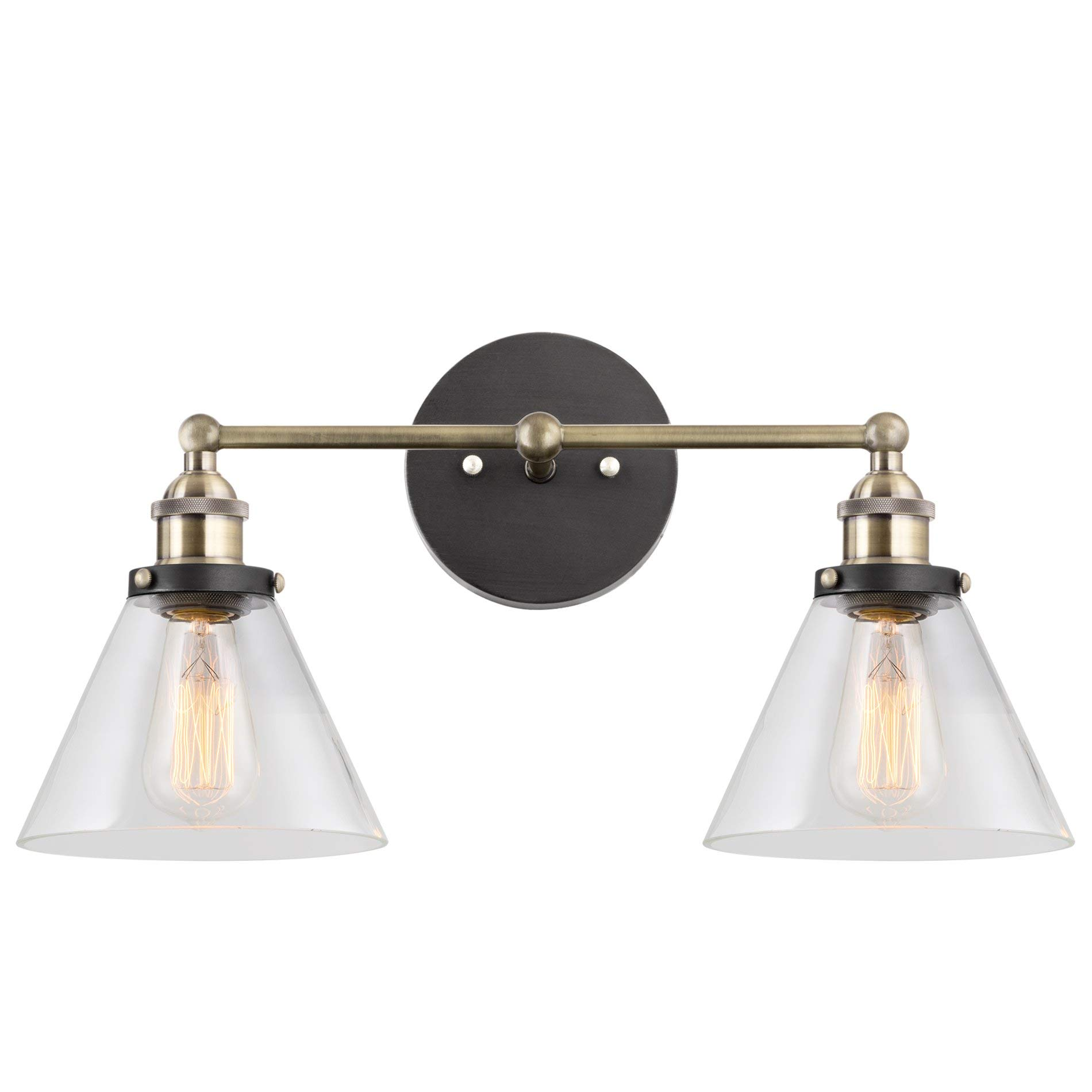 Kira Home Indie 19'' Mid-Century Industrial Edison 2-Light Bathroom/Vanity Wall Sconce + Clear Glass Shades, Antique Brass Accents, Brushed Matte Black Finish by Kira Home (Image #1)