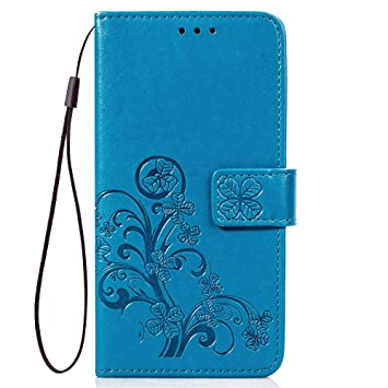 LAGUI Funda Adecuada para Xiaomi Redmi Note 7, Relieve Dibujo Carcasa de Tipo Libro, Azul