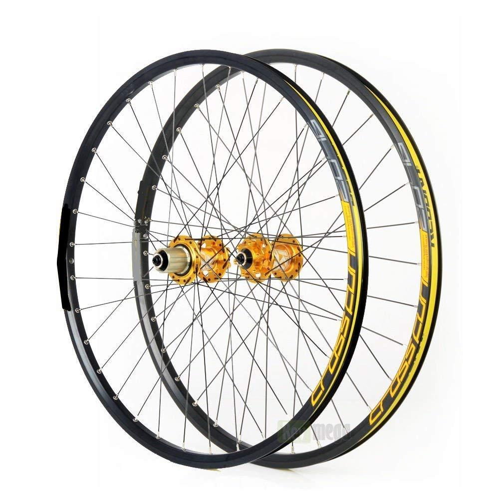 Crystalzhong 自転車 バイク 車輪セット 26インチ 車輪セット マウンテンバイク ディスク MTB ロードホイール 合金 ホイール ロードフリーヒール ゴールド crystalzhong B07GSLG7GP  ゴールド
