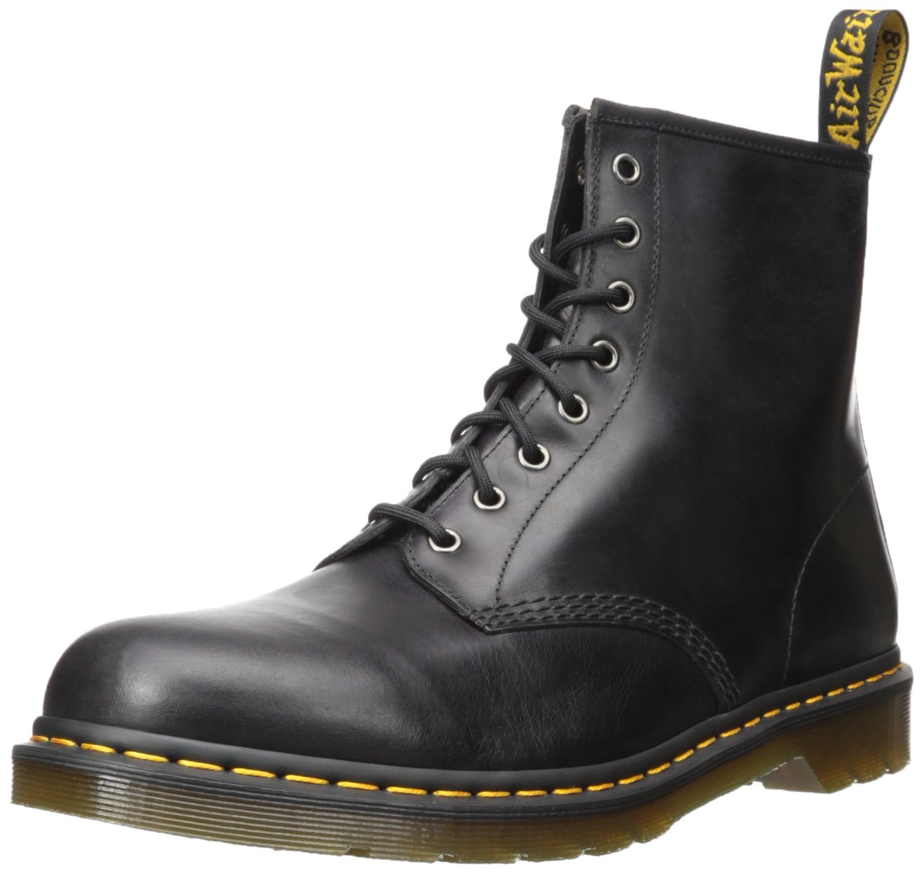 Dr.Martens Mens 1460 8 Eyelet Gunmetal Leather Boots 43 EU 43 EU|Carbón